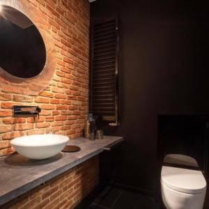 кирпич и плитка под кирпич в ванной комнате